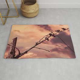 Picturly Purple Sky Leafless Branches and Birds Rug