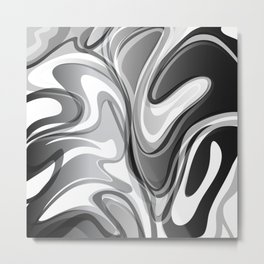 Liquify in Gray, Black and White Metal Print