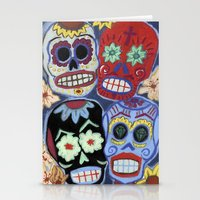 sugar skulls Stationery Cards featuring Sugar Skulls by Lucy Train