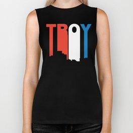 Red White And Blue Troy Michigan Skyline Biker Tank