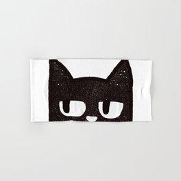 Black Bored Cat Hand & Bath Towel