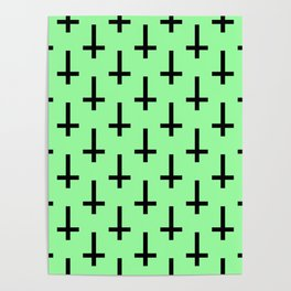 Black and Green Inverted Cross Pattern Poster