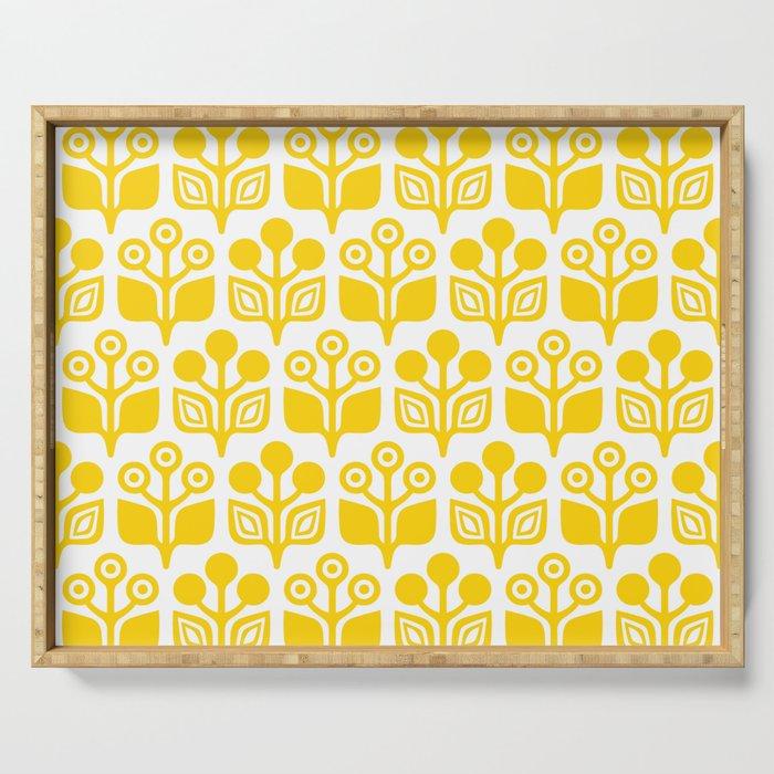 Mid Century Garden Flower Pattern Yellow Serving Tray