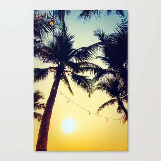 Vintage Palm trees with patio lanterns Canvas Print
