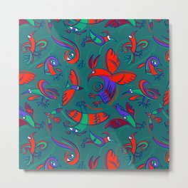 Pattern with Firebirds (on dark green background) Metal Print
