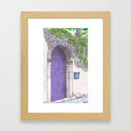 Violet Door surrounded by a violet Wisteria - Darker version Framed Art Print