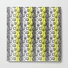 Circles and rings on striped background . Yellow , black , white , grey Metal Print