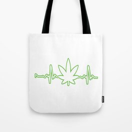 Nice Cannabis Tee For High People Heartbeat Weed T-shirt Design Marijuana Medication Legalized Tote Bag