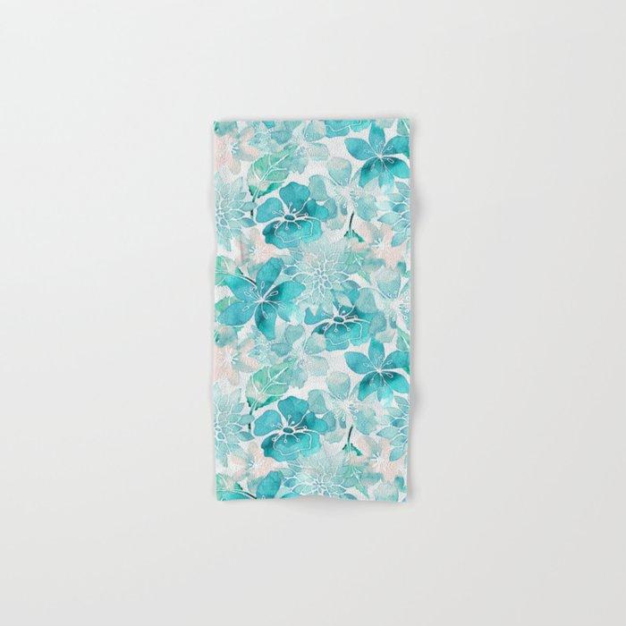 Blue green watercolor flower pattern Hand & Bath Towel