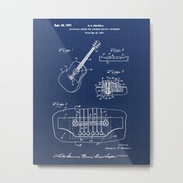 Adjustable Bridge for Guitar Vintage Patent Hand Drawing Metal Print