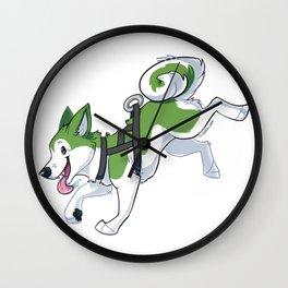 Green Husky Running Wall Clock