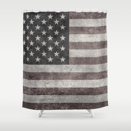 US Flag in vintage retro style Shower Curtain