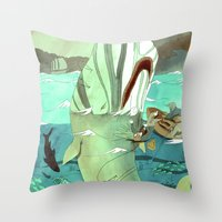 moby Throw Pillows featuring Moby Dick by Mary Slumber