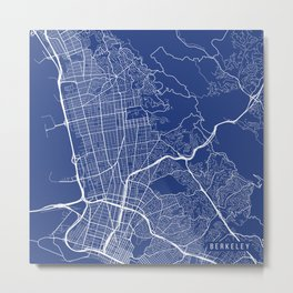 Berkeley Map, USA - Blue Metal Print