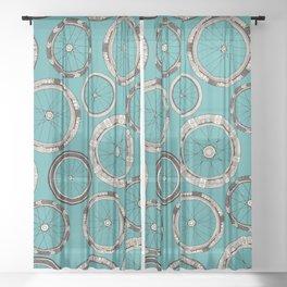 bike wheels turquoise Sheer Curtain