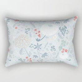 Field of Flowers on Blue Rectangular Pillow