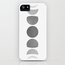 Abstract Grey Moon Phases iPhone Case