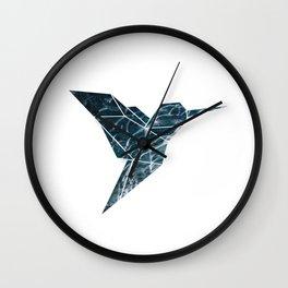 Geometric Hummingbird, Blue Hummingbird Art Wall Clock