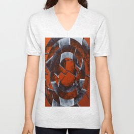 Concentric Rust - Abstract, geometric, tectured art in rustic brown, black and white Unisex V-Neck
