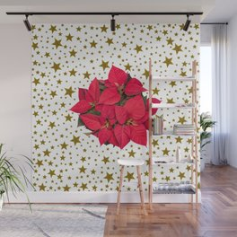 Red Christmas flower and sparkly gold stars Wall Mural