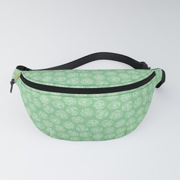 Green and White Doodle Rose Pattern Fanny Pack
