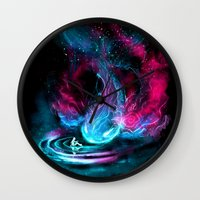 alicexz Wall Clocks featuring The Visitor by Alice X. Zhang