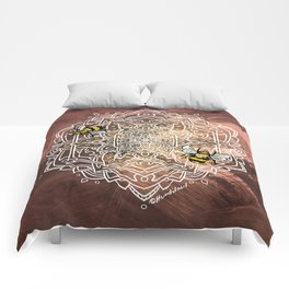 Bee Dance Mandala A - Textured Rose Gold Comforters