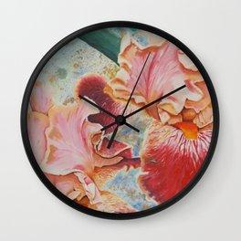 Pink Iris Flowers Painting Wall Clock