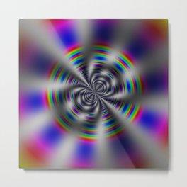 Fractal Rainbow Wheel Metal Print