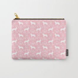 Australian Cattle Dog minimal floral silhouette pattern pink and white dog art Carry-All Pouch
