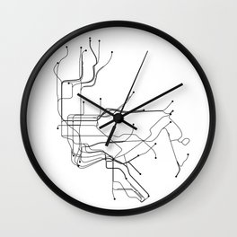 New York City White Subway Map Wall Clock