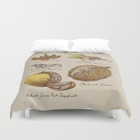 clockwork Duvet Covers featuring Steampunk Fruit  by Eric Fan