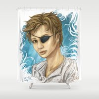 pen Shower Curtains featuring Pen by laya rose