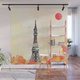 Tokyo Tower - Japan - Soft and peaceful illustration by Yves Kervoelen Wall Mural