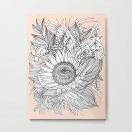 Protea Botanical Illustration Metal Print