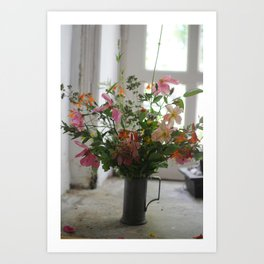 Garden Flowers in French Countryside Art Print