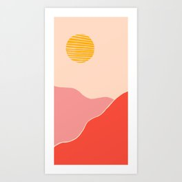 Desert Sunset and Mars Mountains Art Print