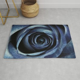 Blue Rose Bloom Decorative Rug