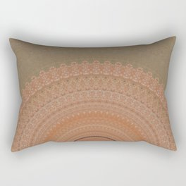 Coral Peach and Taupe Mandala Rectangular Pillow