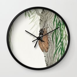 Cicada on a weeping willow tree - Japanese vintage woodblock print Wall Clock