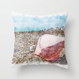 Aquarelle sketch art. Two big buoys on the beach, azure sea and the rocky beach, Tyrrhenian sea in Tuscany, Italy Throw Pillow