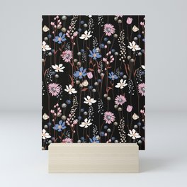 Darkly Beautiful Wildflower Floral Pattern Mini Art Print