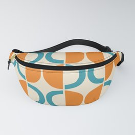 Mid Century Modern Half Circle Pattern 528 Beige Orange and Turquoise Fanny Pack