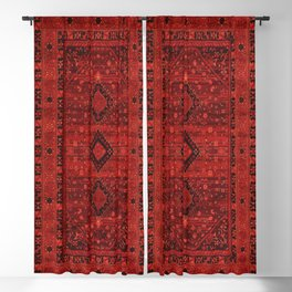 Red Traditional Oriental Moroccan & Ottoman Style Artwork. Blackout Curtain