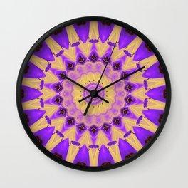 Bold Purple and Yellow Mandala Wall Clock