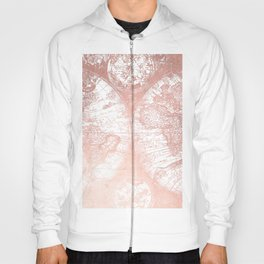 Rose Gold Pink Antique World Map by Nature Magick Hoody