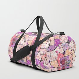 Vintage Grandma Quilt, Textured Watercolor Lavender Purple Flower Quilting Pattern Illustration Duffle Bag