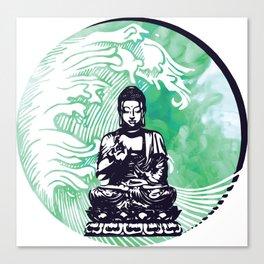 Buddha Typhoon Emerald Smoke Canvas Print