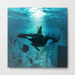 Orcas in Manhattan Metal Print