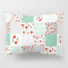 Poppies quilt pattern mint floral flowers patterned florals squares Pillow Sham